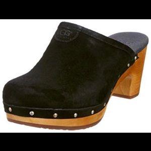 "UGG ""Abbie"" Black/Wood Heel Clogs-9"